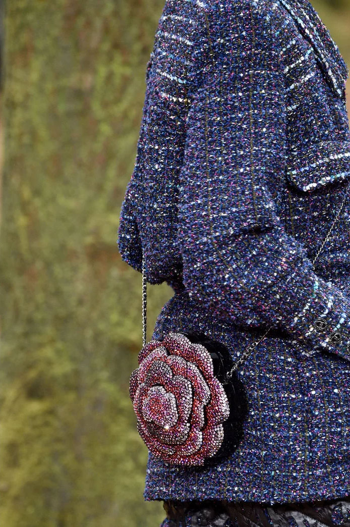Bejeweled flower at Chanel