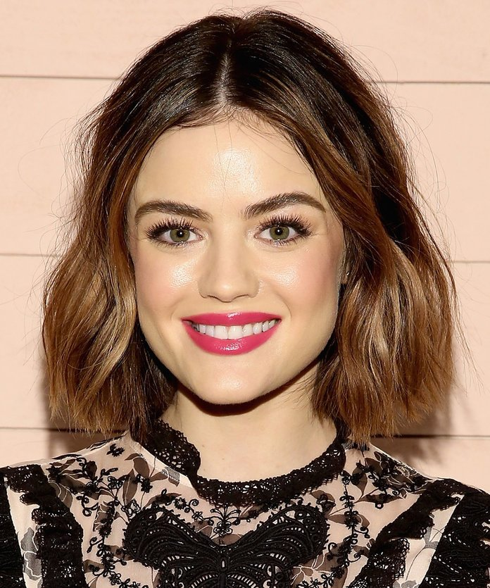Lucy Hale Lucy Hale has tried every hair color out there, but she frequently returns to this brunette bob lightened up with caramel highlights.