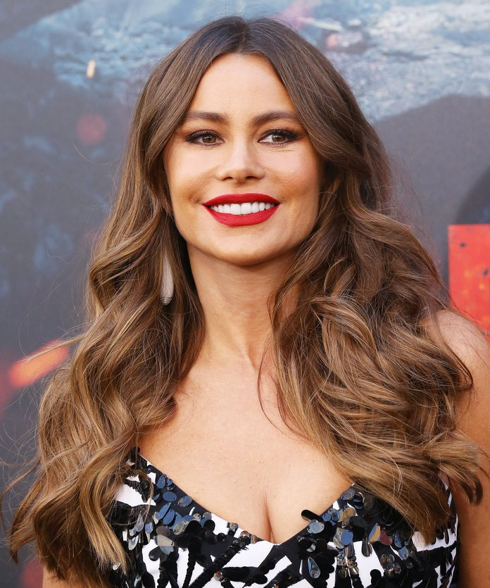 Sofia Vergara Sofia Vergara's highlights are focused towards the ends of her hair, but there isn't a harsh line of demarcation. Bring this photo to the salon if you want a super, super natural look.